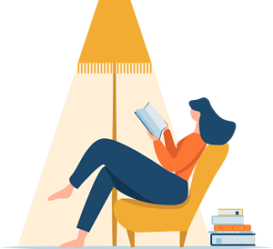 Woman sitting in a chair and reading a book