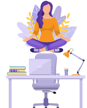 Woman doing yoga in an office