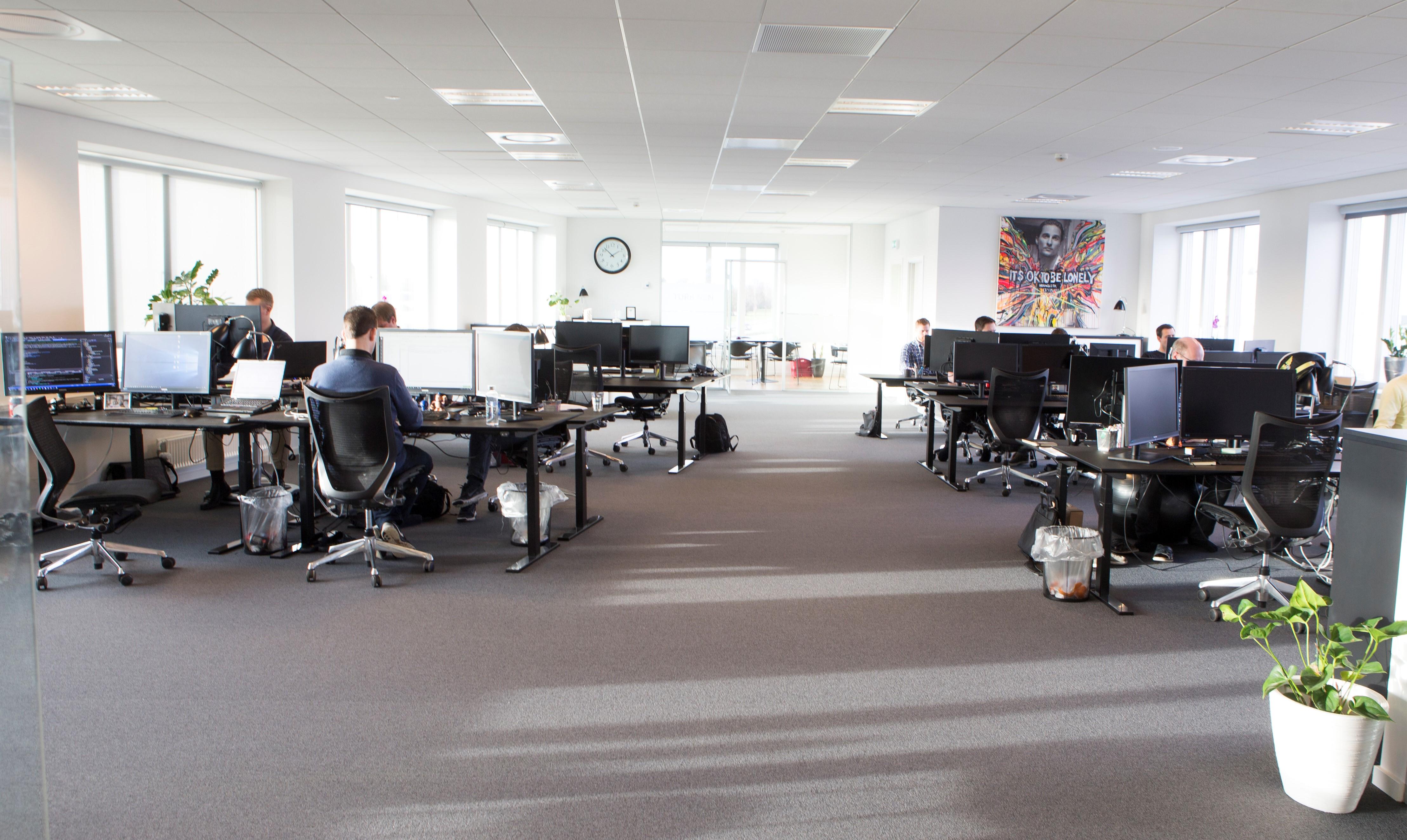 Half-empty Kraftvaerk Office in Copenhagen during the covid-19 pandemic